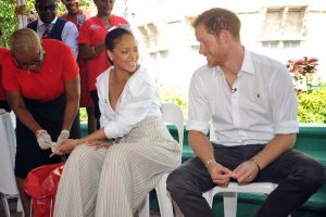 Britain's Prince Harry takes an HIV test alongside singer Rihanna to highlight World AIDS Day in Bridgetown, Barbados, on Thursday, December 1, 2016. Photo: Reuters